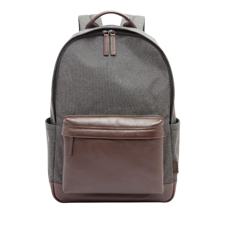 Fossil Mens Buckner Leather Backpack Grey