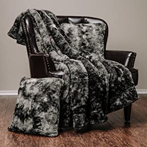 Chanasya 3-Piece Faux Fur Throw Blanket Pillow Cover Set - Sherpa Throw (50x65 Inches) 2 Throw Pillow Covers (18x18 Inches) for Couch, Bed, Chair and Sofa - Grey