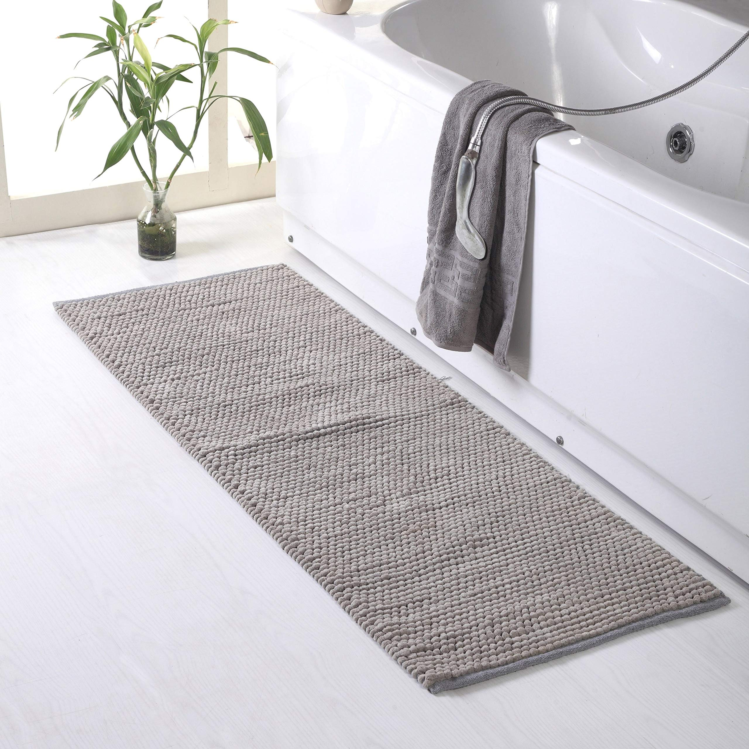 Solid Silver Grey Chenille Bath Rug XL, Oversized Bath Mat Extra Long Runner, Textured Loop Design Carpet Soft Cozy Absorbent Master Guest Bathroom Accent Decor Light, Rectangle 22'' x 60'' Cotton