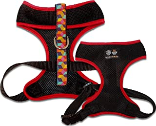 product image for BESSIE AND BARNIE Air Comfort Harness for Pets, Black/Rainbow Blocks/Red