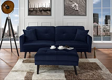 Brilliant Mid Century Modern Brush Microfiber Futon Sofa Bed Living Room Sleeper Couch Navy Home Interior And Landscaping Dextoversignezvosmurscom