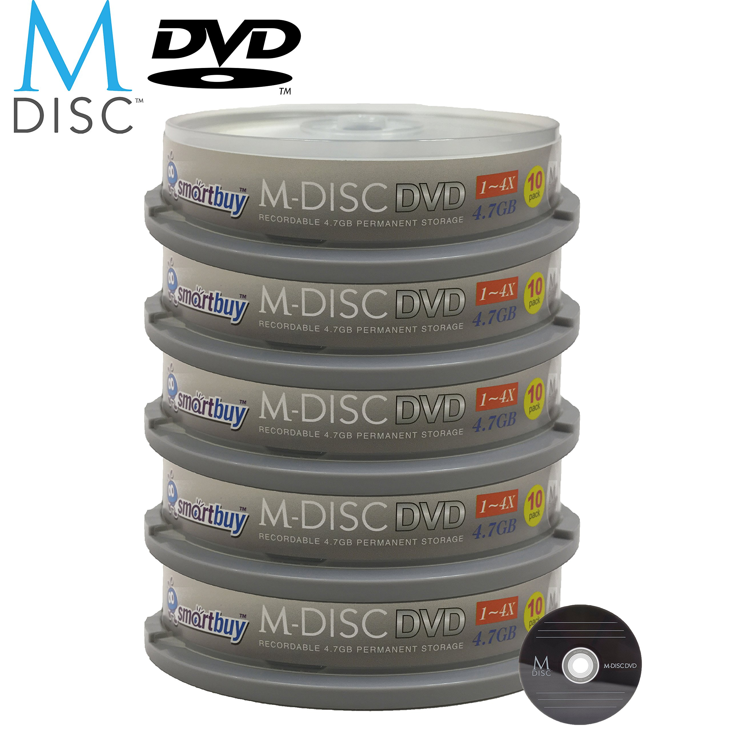 50 Pack Smartbuy M-Disc DVD 4.7GB 4X HD 1000 Year Permanent Data Archival / Backup Blank Media Recordable Disc