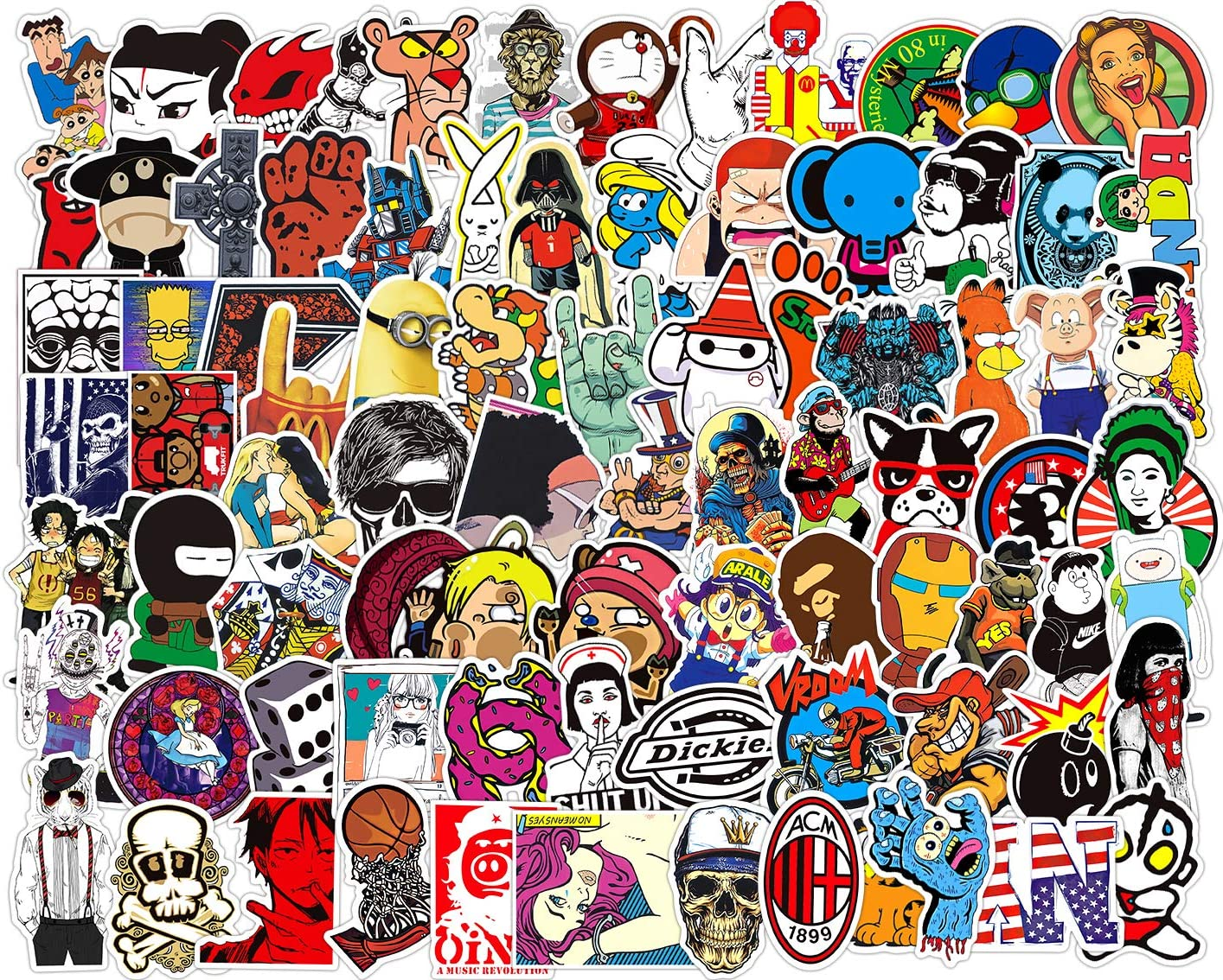 100 PCS Laptop Stickers, Car Bumper Stickers,Motorcycle Bicycle Luggage Decal Graffiti Patches Skateboard Stickers, Supercool Stickers No-Duplicate for Adults