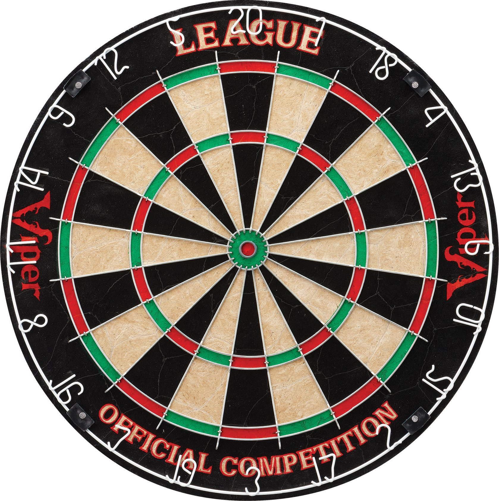 Viper League Sisal/Bristle Steel Tip Dartboard with Staple-Free Bullseye by Viper by GLD Products