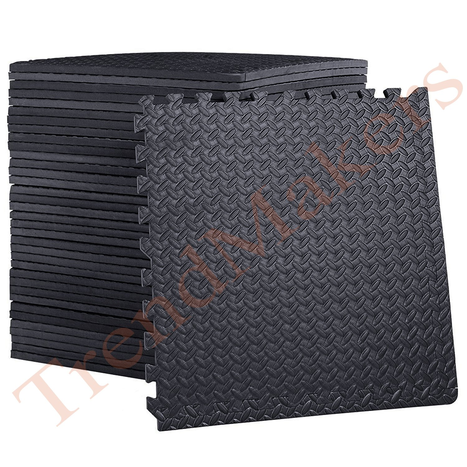 TrendMakers® 32 Sq.Ft (8 Tiles ) BLACK EVA Interlocking Gymnastic Foam Mats Yoga Exercise Garage Floor Protection Playroom Anti Fatigue Rubber Cushion for Workouts - Leaf Pattern - 60 x 60 x 1cm