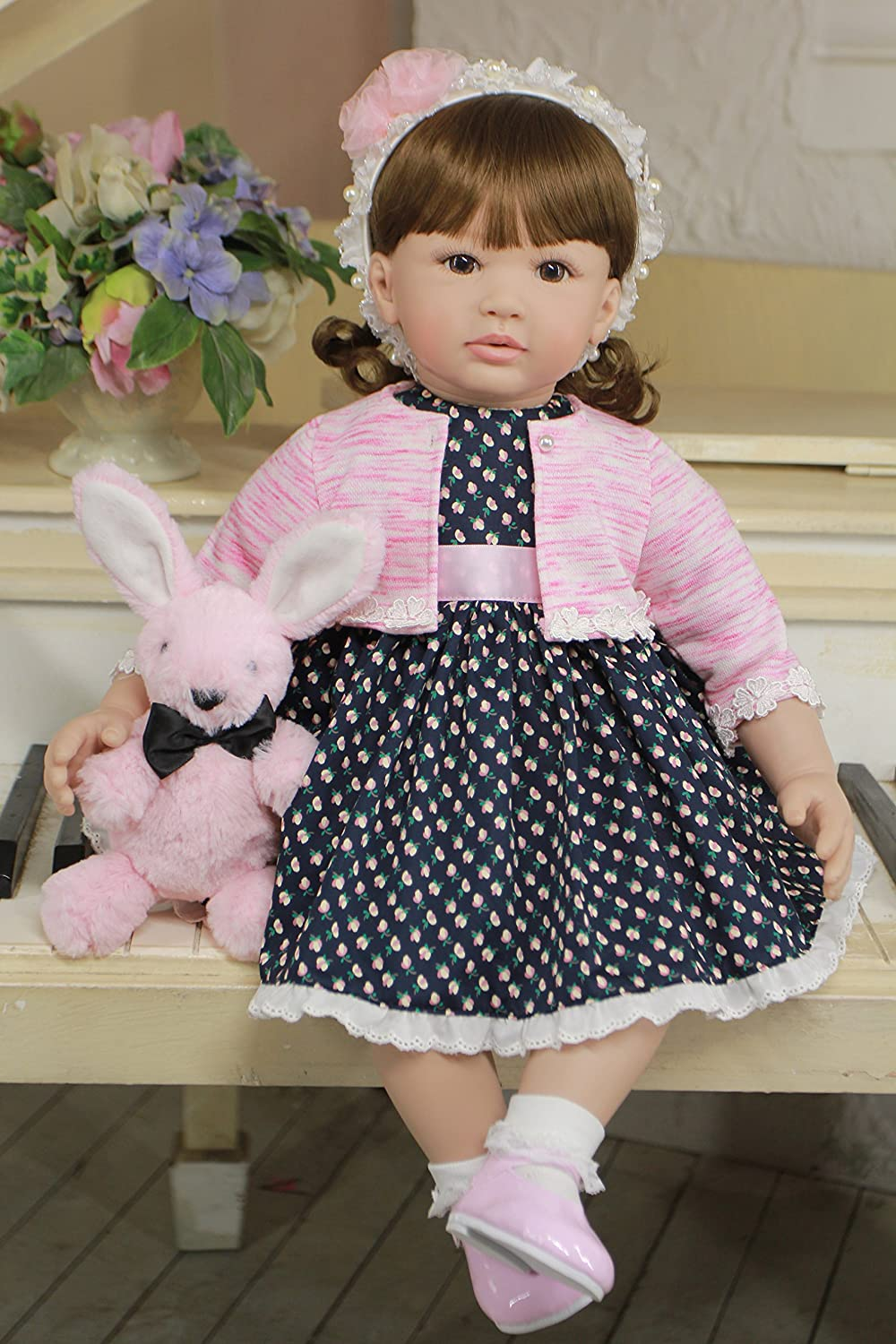 PursueベビーキュートLifelike幼児用プリンセスGirl Doll with Curly Hair Eliana、24インチソフトボディReal Looking Toddler幼児Doll Weighted For Snuggle   B07B7GXM1L