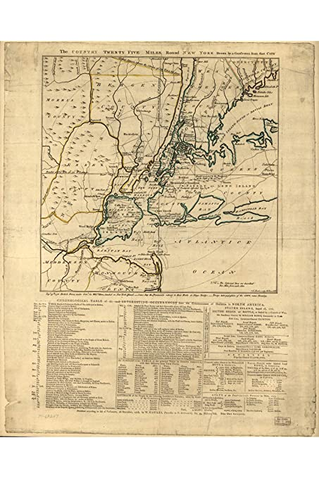 Map Of New York During American Revolution.Amazon Com History Prints Map Of New York City Revolutionary War