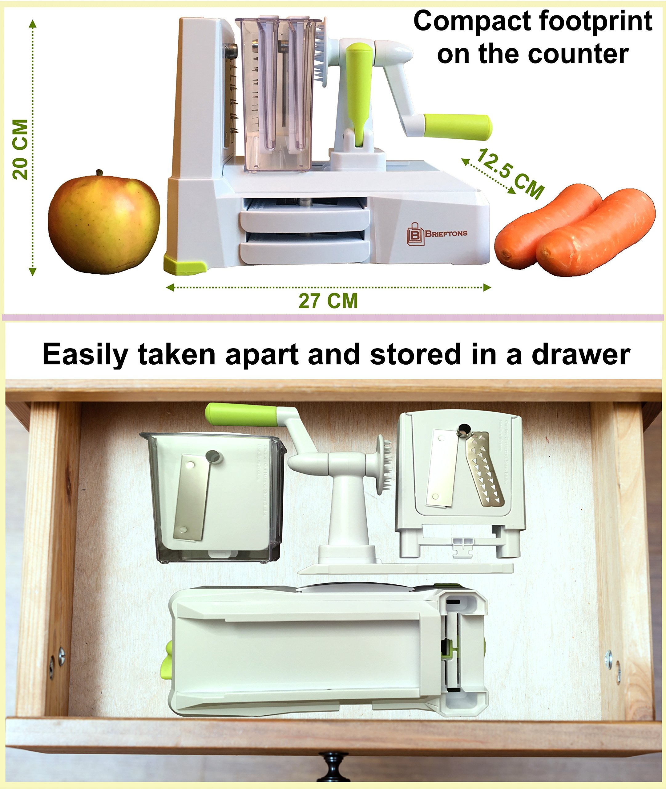 Brieftons 5-Blade Spiralizer (BR-5B-02): Strongest-and-Heaviest Duty Vegetable Spiral Slicer, Best Veggie Pasta Spaghetti Maker for Low Carb/Paleo/Gluten-Free, With Extra Blade Caddy & 4 Recipe Ebooks by Brieftons (Image #5)