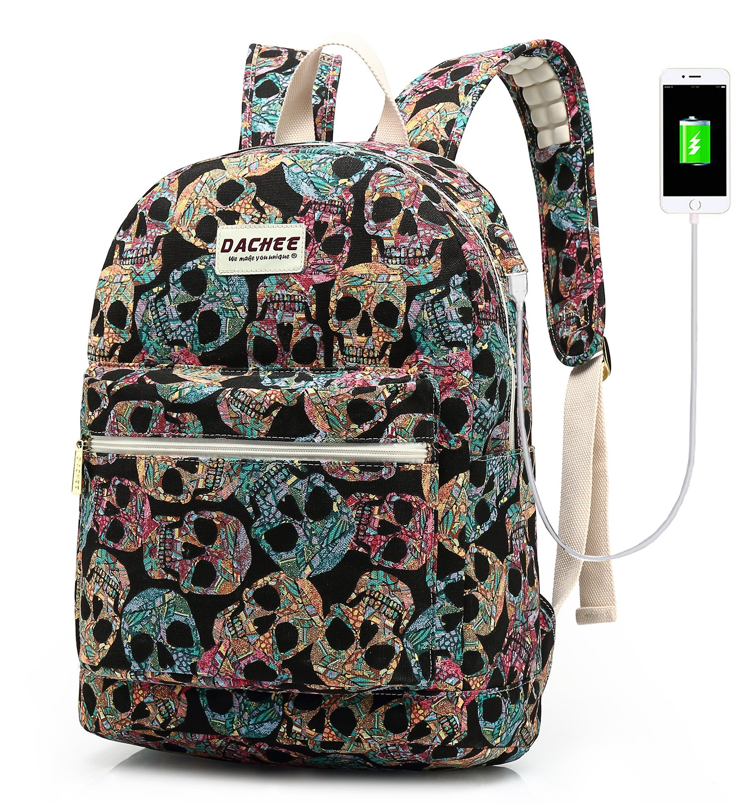 Laptop Backpack with USB Charging Port Waterproof Canvas School Bookbag Travel Backpack for 15.6 Inch (Gothic Skull)