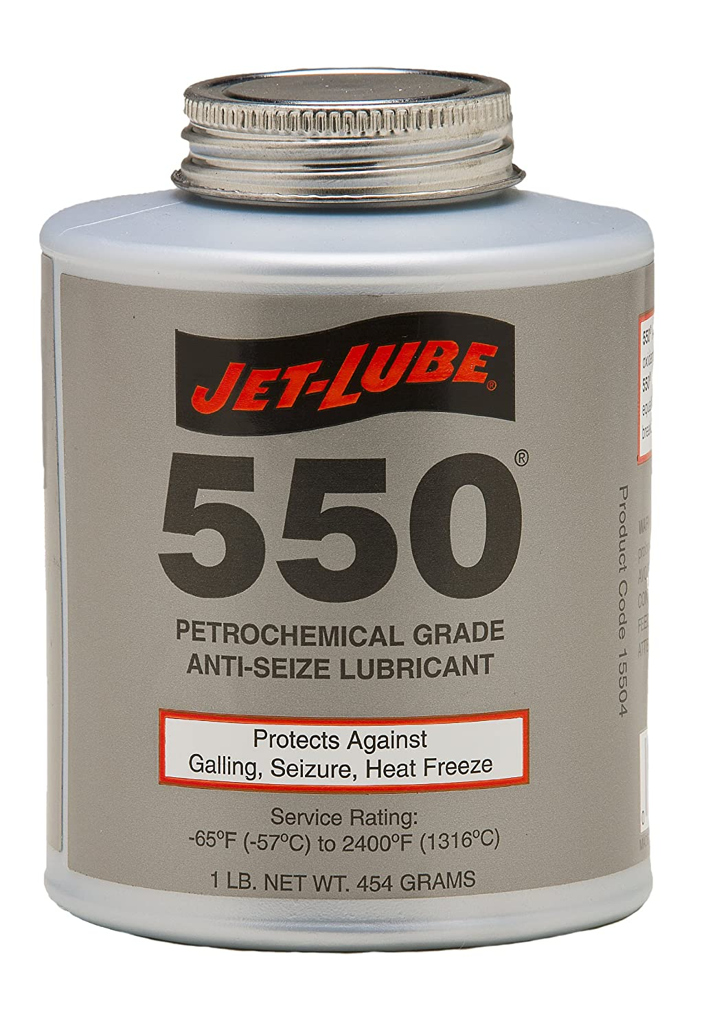 Jet-Lube 550 Nonmetallic Petrochemical Grade Anti Seize and Thread Lubricant, 1 lbs Brush Top Can 15504