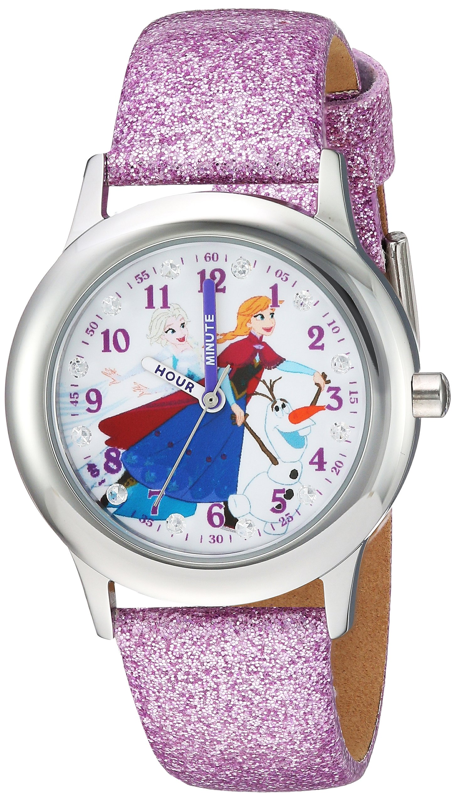 DISNEY Girls Frozen Anna Stainless Steel Analog-Quartz Watch with Leather-Synthetic Strap, Purple, 15 (Model: WDS000195) by Disney