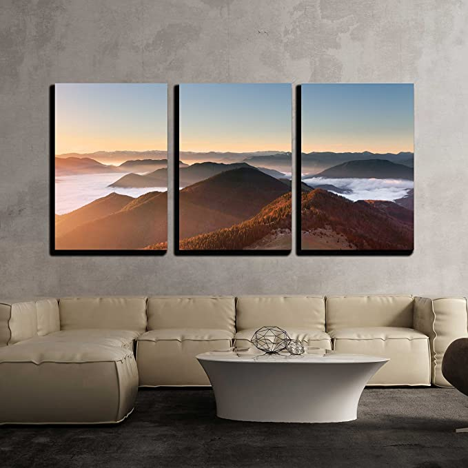 Wall26 3 Piece Canvas Wall Art Mountain Sunset Autumn Landscape In Slovakia Modern Home Art Stretched And Framed Ready To Hang 16 X24 X3 Panels Posters Prints