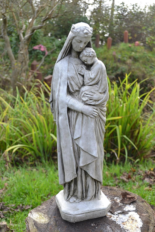Madonna /& Child white aged Religious statue stone home or garden ornament