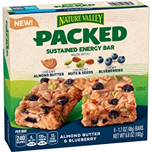 Nature Valley Packed Sustained Energy Bar Almond Butter & Blueberry, 4 Count