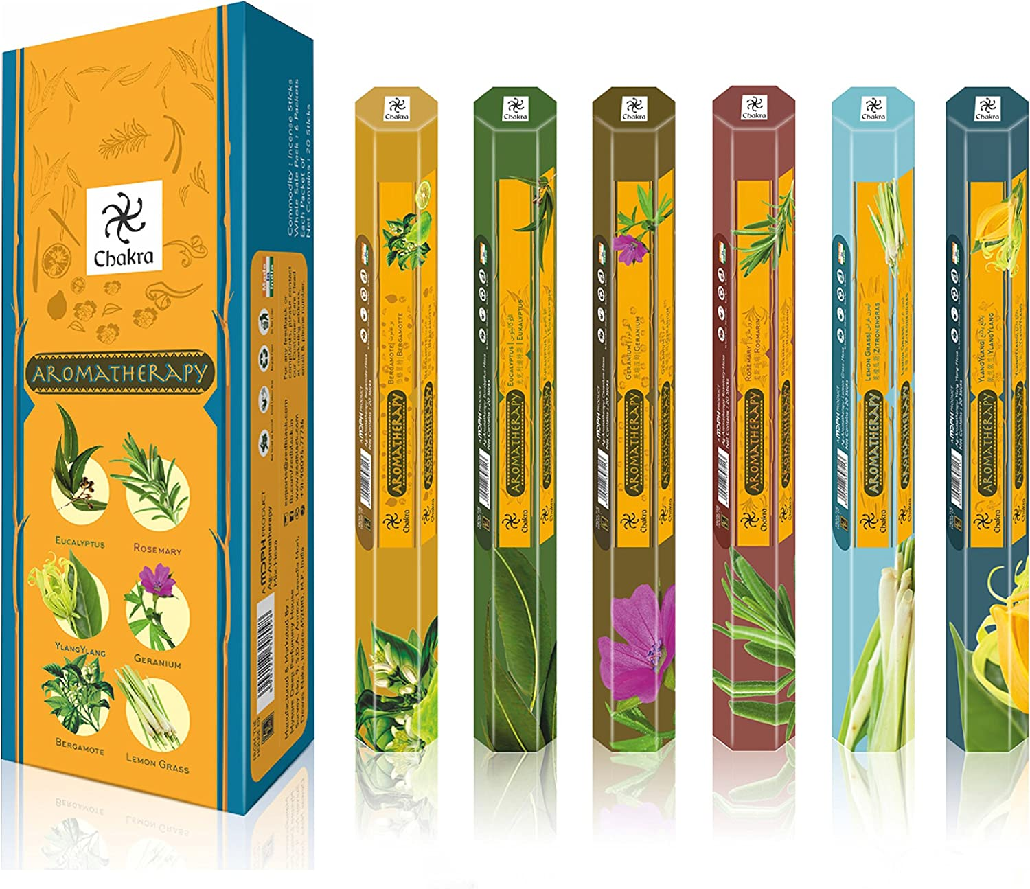 chakra Aromatherapy Natural Fragrance Scented Sticks - Promotes Health and Well Being- 20 Incense Sticks Per Box - Long Lasting 120 Fragrance Sticks - Pack of 6