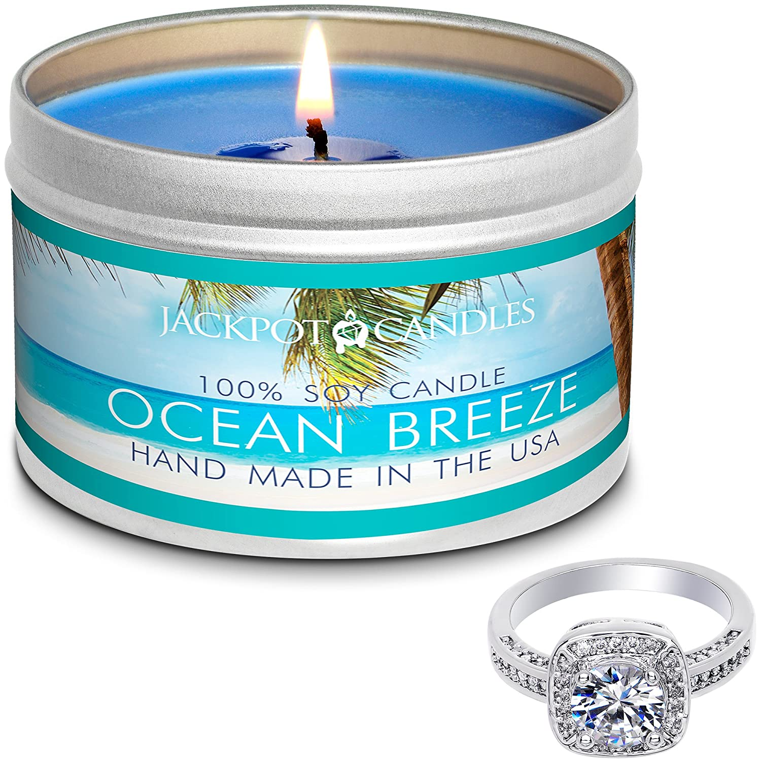 Jackpot Candles Surprise Size Ring Ocean Breeze Jewelry Candle Travel Tin TIN-155-RNG-SURPRISE