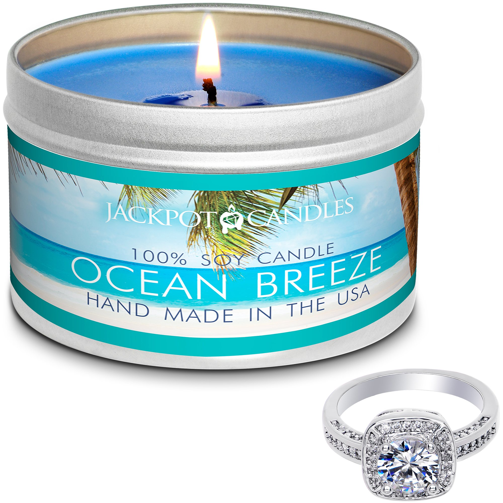 Jackpot Candles Surprise Size Ring Ocean Breeze Jewelry Candle Travel Tin