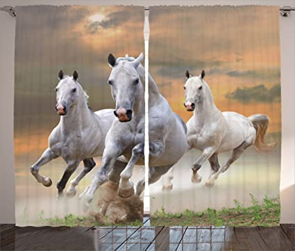 Ambesonne Animal Decor Curtains, Stallion Horses Running On A Mystical Sky  Background Equestrian Male Champions
