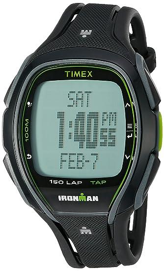 54dcc15353ed Timex Unisex TW5K96400 Ironman Sleek 150 Tapscreen Black Green Full-Size  Resin Strap Watch