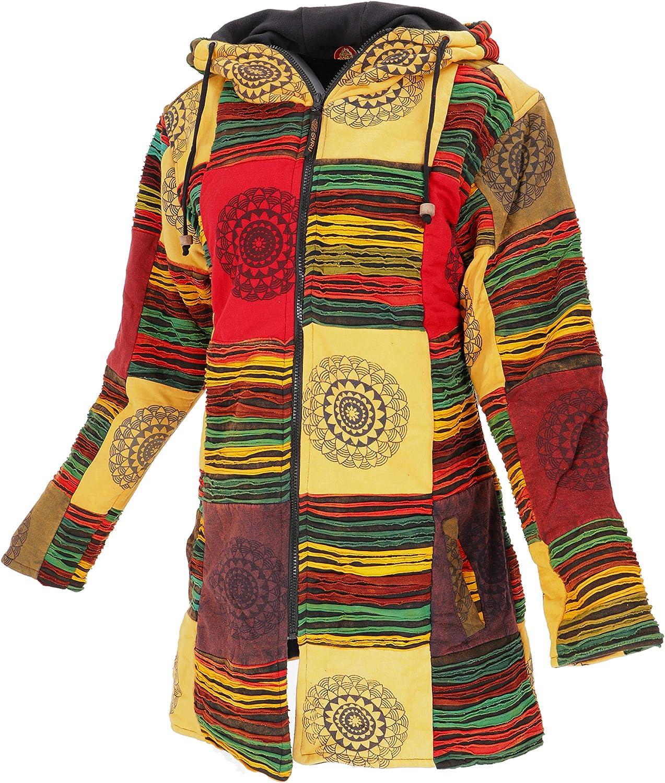 Goa Patchwork Cappotto Corto Giacche e Gilet Boho 40 Boho Hippie Giacca Boho Guru-Shop Dimensione Indumenti:M Marrone