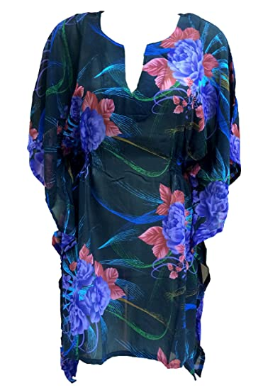 2bb2b06176 Image Unavailable. Image not available for. Color: SUNROSE Black Blue Rose  Flower Print Tube Kaftan Caftan Beach Cover ...
