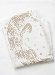 Fox Tea Towel - Organic Cotton - Hand Printed in Mocha Brown - Flour Sack