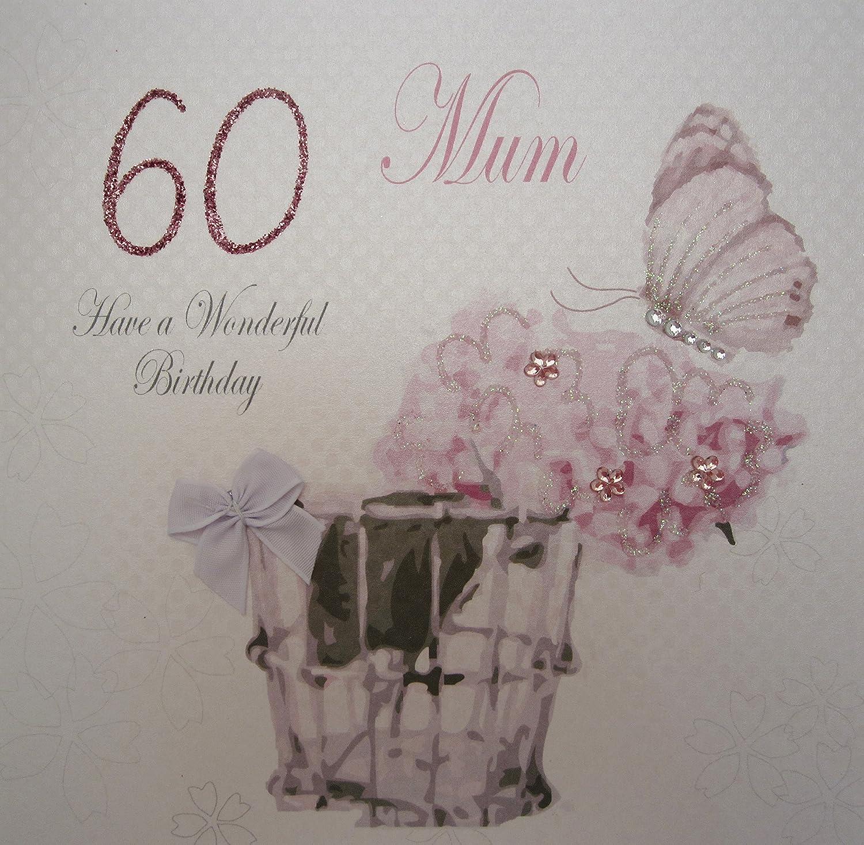 scritta inglese: Mum Have a Wonderful 90th Birthday per 60/° compleanno della mamma motivo vintage WHITE COTTON CARDS fatto a mano colore: bianco Biglietto di auguri