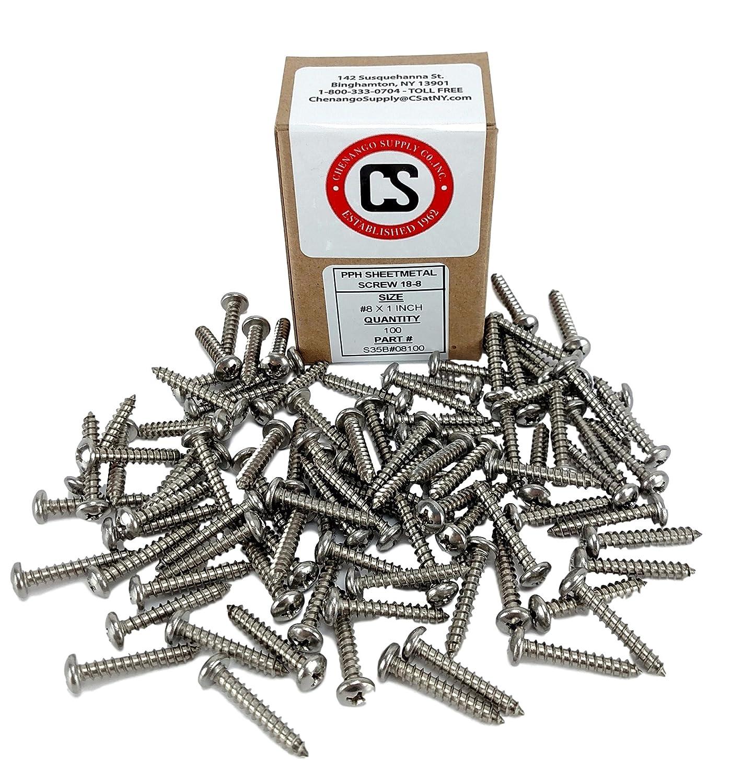 Chenango Supply S35B#08075 #8 x 3//4 inch 100 Sheet Metal Screws 1//2 to 2 lengths in Listing #8 x 3//4 Stainless Philips Pan Head Sheetmetal Screw