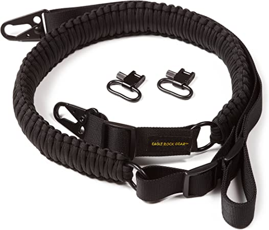 Eagle Rock Gear 550 Paracord 2 Point Gun Sling for Rifles, Shotguns, Crossbows, Airsoft, with Easy Adjustable Strap, HK Clips, Swivels, US Patented Design