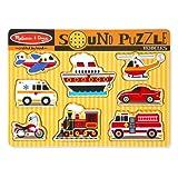 Melissa & Doug Vehicles Sound Puzzle - Wooden Peg Puzzle With Sound Effects (8 pcs)