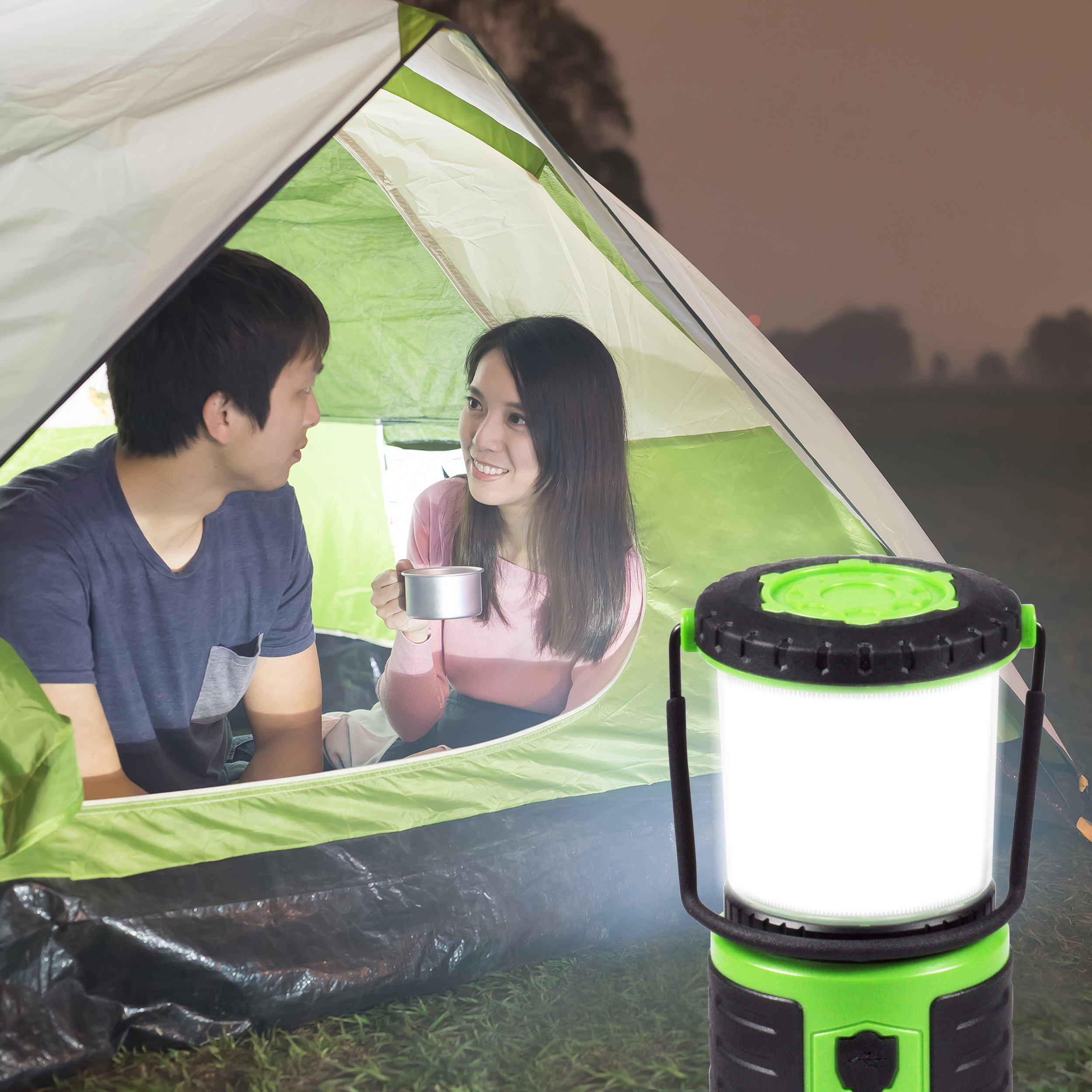 Blazin' Bison Brightest Rechargeable LED Lantern | 400 Hour Runtime | Phone Charger | Hurricane, Emergency, Storm (400 Lumen, Green) by Blazin' Bison (Image #2)