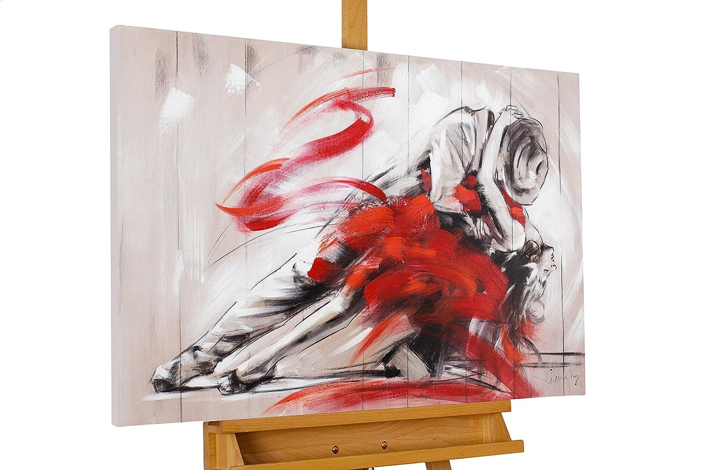 KunstLoft Acryl Acryl Acryl Gemälde 'Hingebungsvoll' 90x60cm   original handgemalte Leinwand Bilder XXL   Liebe Tanz Erotik Paar Rot   Wandbild Acrylbild moderne Kunst einteilig mit Rahmen 6916be