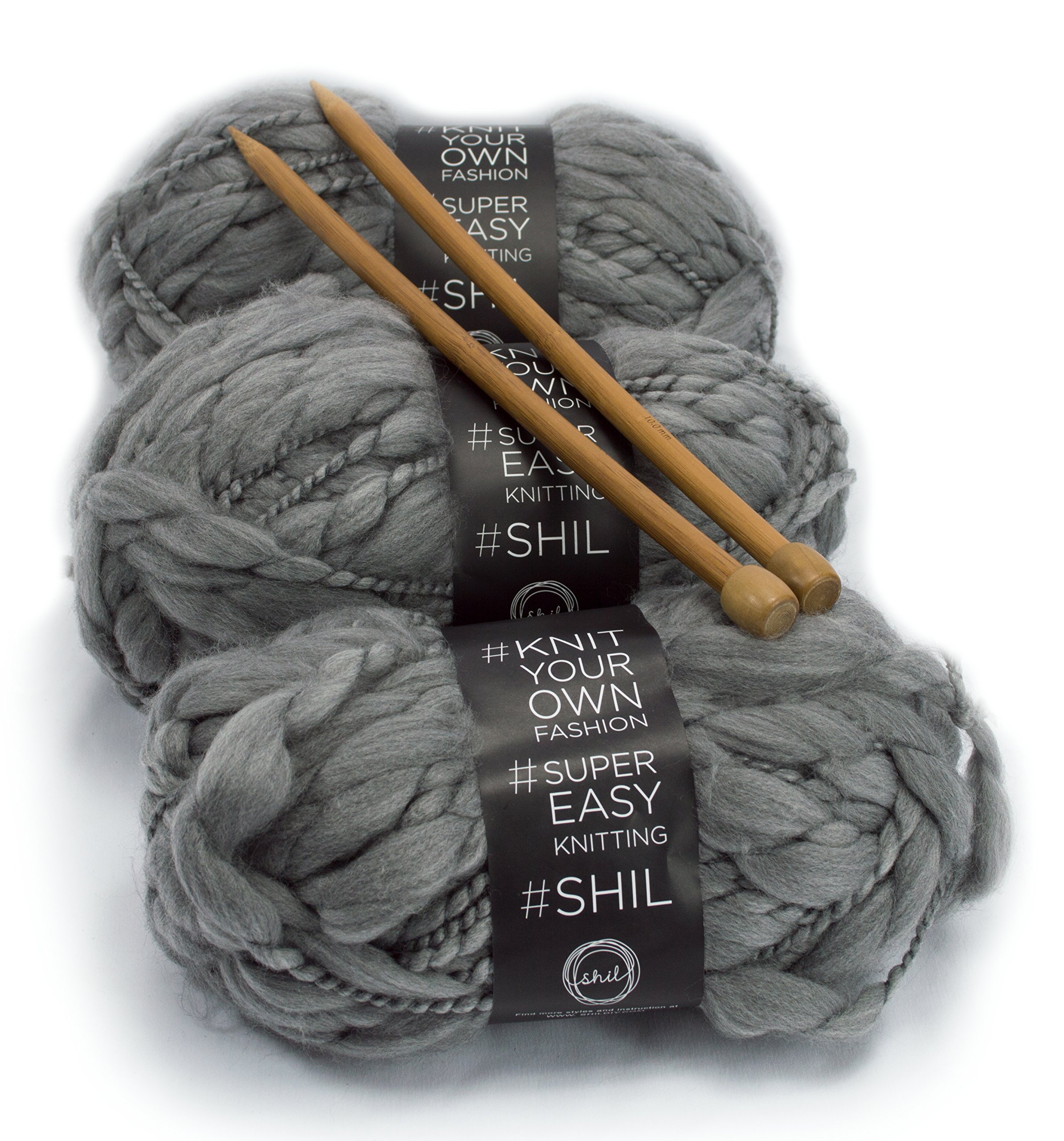 DIY Knitting Blanket Kit Super Soft Thick and Thin Bulky Yarn US 15 Needles (Charcoal Grey) by Rising Phoenix Industries (Image #2)