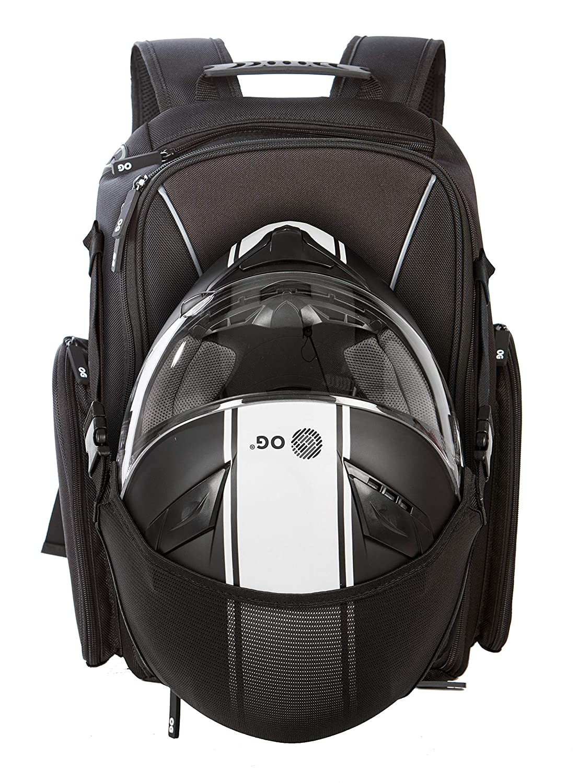 OG Online&Go Mochila Moto Negra 20L-30L, Correa Casco Moto, Bolsa Portacascos, Ciclismo, Impermeable, Hombre, Portátil, Reflectante