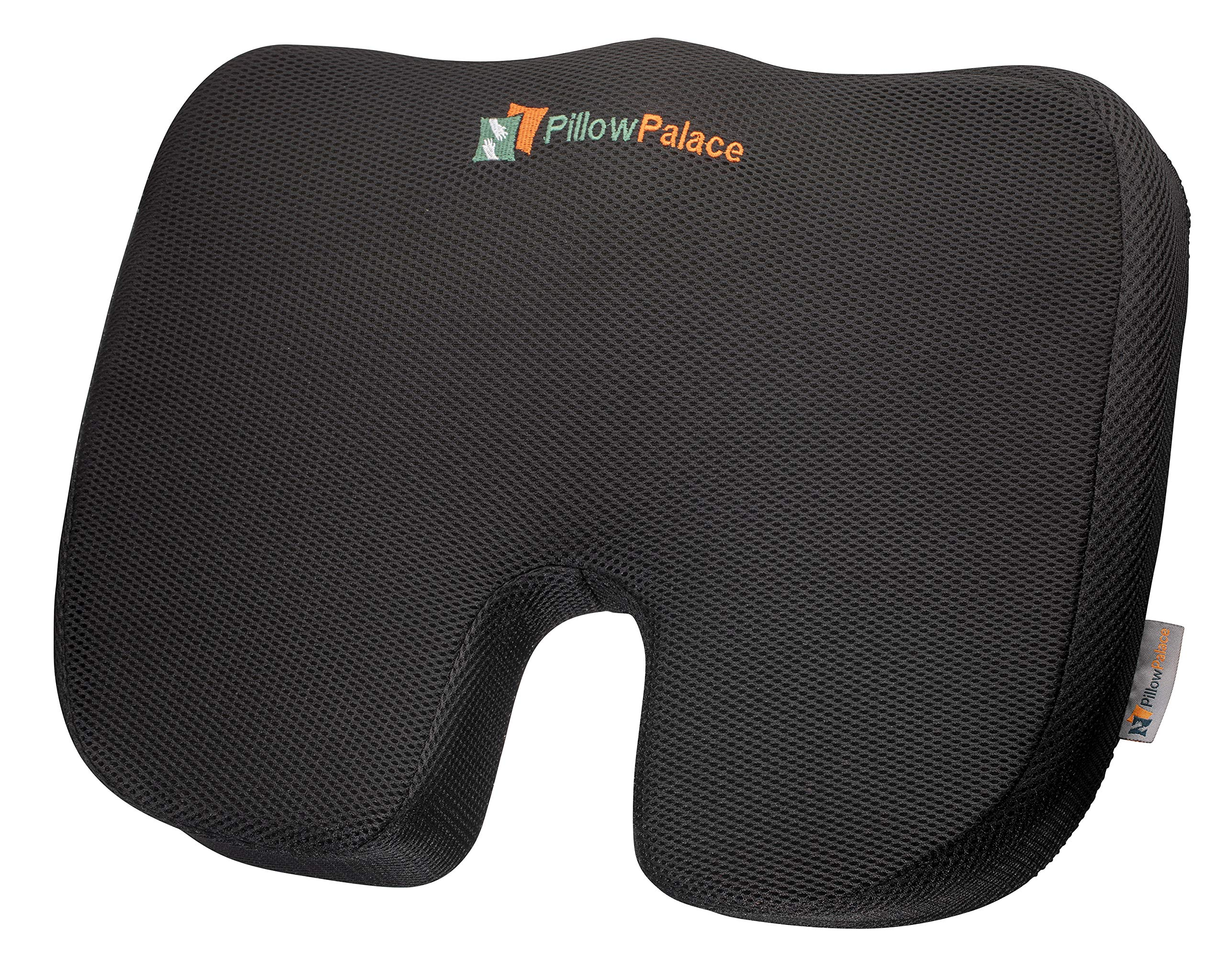 pillow palace | Coccyx Orthopedic Seat Cushion | Memory Foam Chair Pillow | Relieves Back, Tailbone, Sciatica Nerve Pain | Premium Comfort For Home, Office, Car or Event Seating