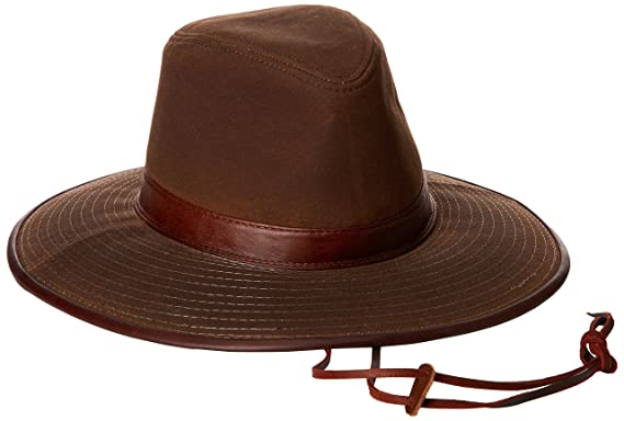 Dorfman Pacific Men s Oil Cloth Safari Hat With Leather Trim at ... 47a3ad0bd748