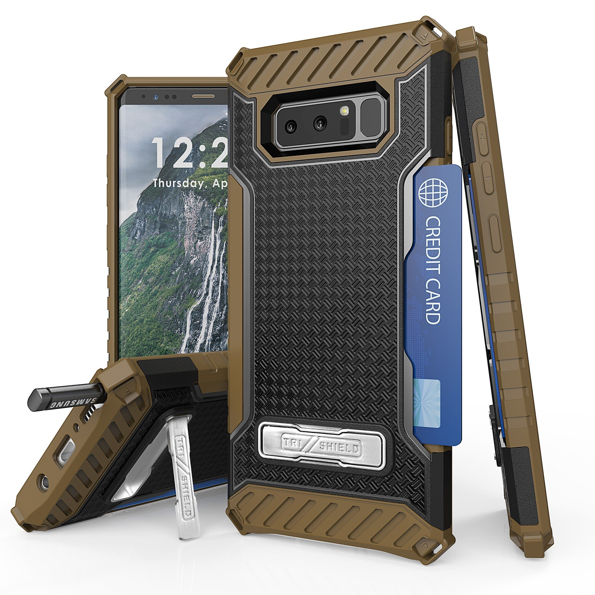 Galaxy Note 8 Case, Trishield Durable Shockproof High Impact Rugged Full Protection Armor Black Tan Phone Cover With Detachable Lanyard Loop Built In Kickstand And Card Slot