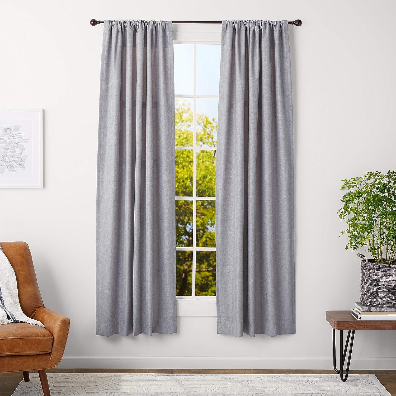 AmazonBasics 5/8-Inch Curtain Rod with Round Finials - 28 to 48 Inch, Espresso (Dark Bronze)