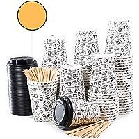 80 Vasos Desechables de Café para Llevar - Vasos Carton 360 ml 12 Onzas con Tapas y Agitadores de Madera para Servir el…