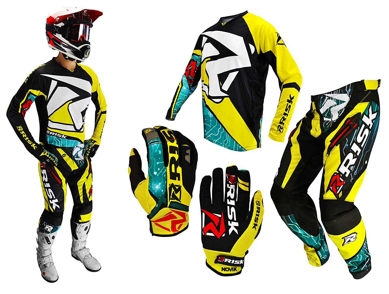 Risk Racing Unisex-Adult Motocross Pants Yellow//Black 38 364