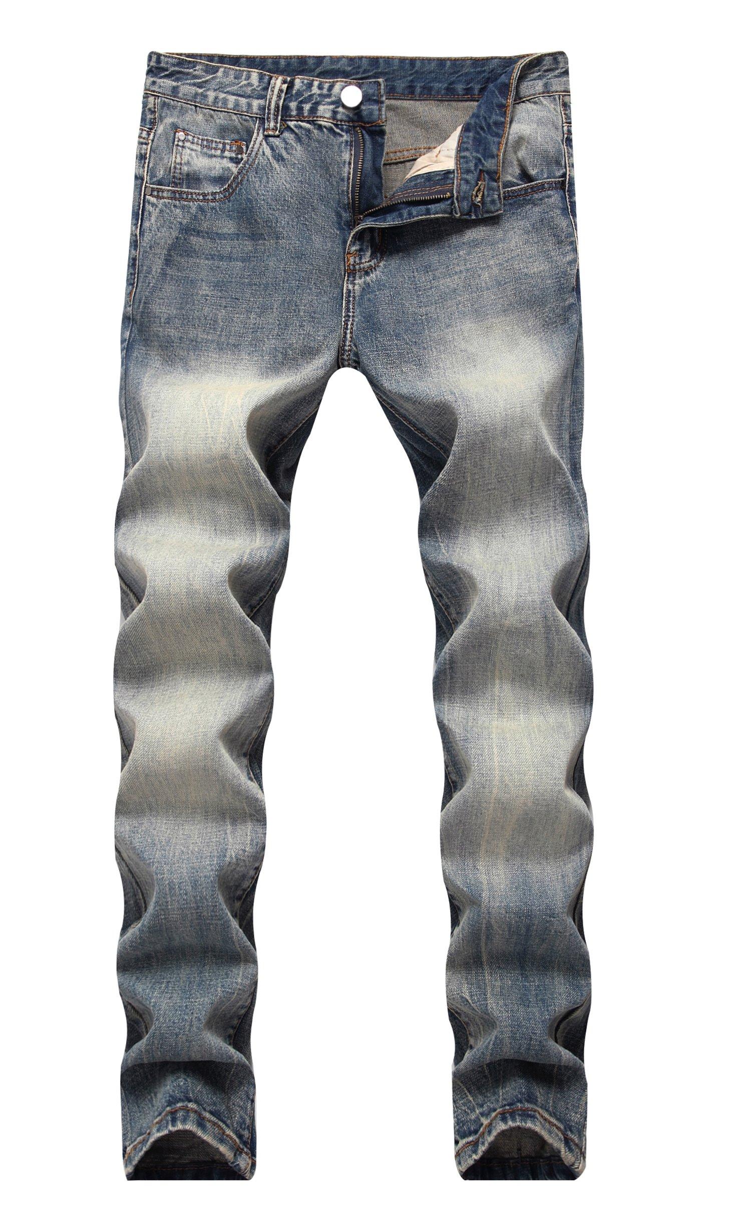 COLINNA Men's Vintage Classic Washed Blue Distressed Slim Fit 5-Pocket Denim Jeans
