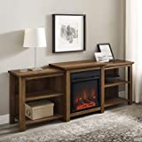 """Walker Edison Tiered Wood Fireplace Stand with Open 80"""" Flat Screen Universal TV Console Living Room Storage Shelves Entertai"""