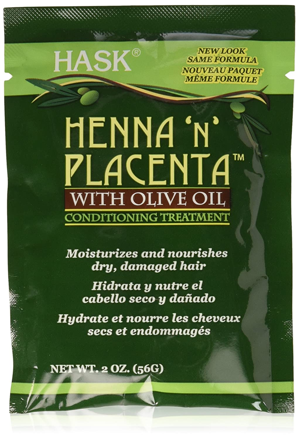 HASK Henna 'N' Placenta with Olive Oil Conditioning Treatment, 2 Oz, 0.13 lb