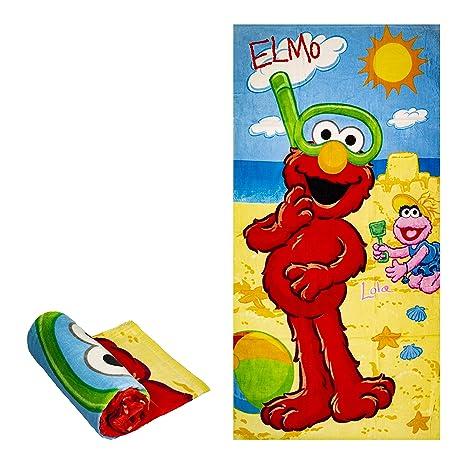 e73936b610f Sesame Street – plaza sesamo Fibra reactiva toalla de playa – Elmo   Lola  Sandcastle playa