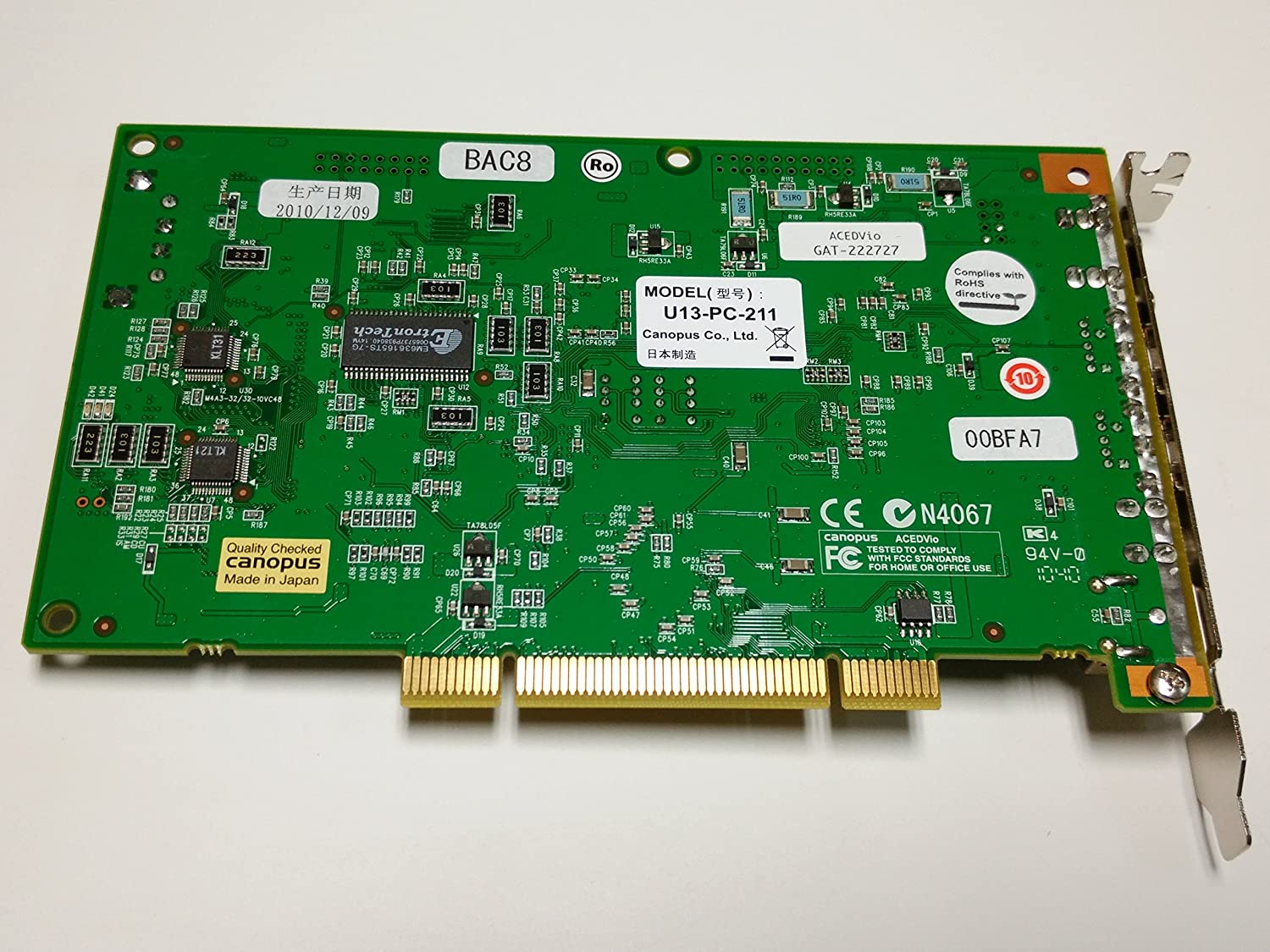 Amazon.com: Grass Valley/Canopus Acedvio OHCI Firewire Card without Editing  Software.: Everything Else