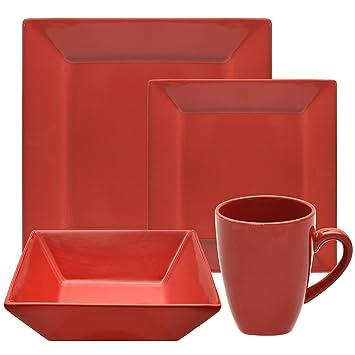 Amazon.com | Nova 16 Piece Square Dinnerware Set, Porcelain ...