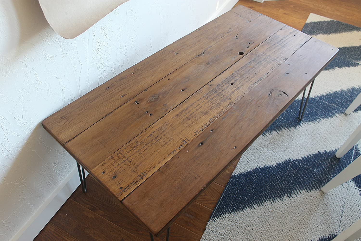 Reclaimed Wood Coffee Table on Hairpin Legs - Light Brown Stain