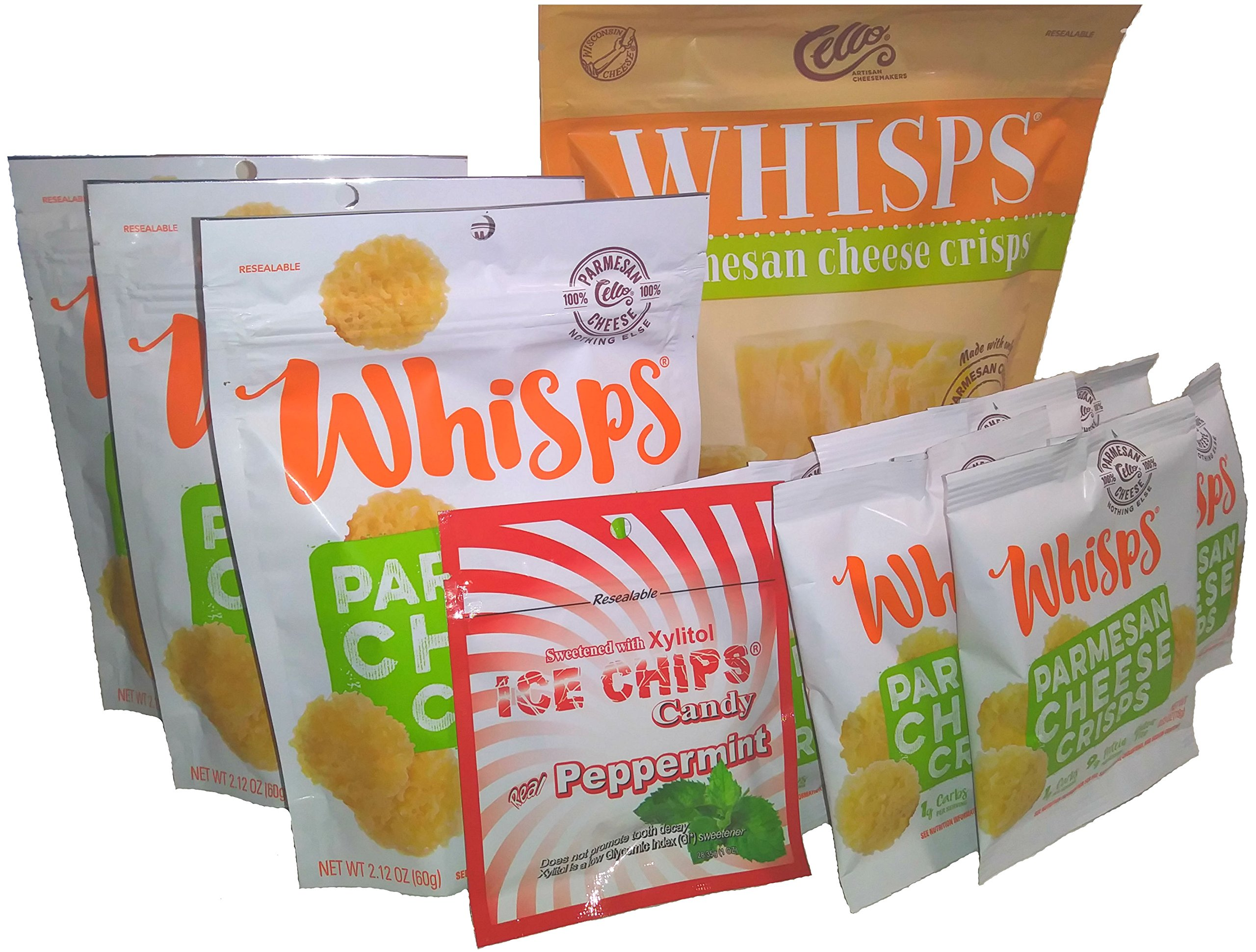 10-Pack Whisps Parmesan Assorted Sizes & Ice Chips Xylitol Peppermint Bundle