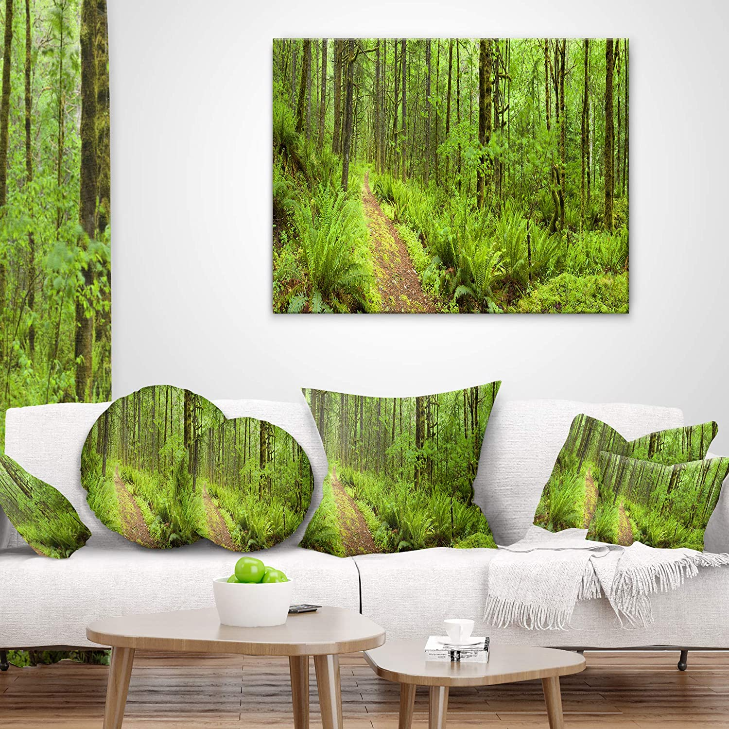 Designart CU11137-26-26 Lush Path Columbia River Forest Cushion Cover for Living Room x 26 in Insert Printed On Both Side in Sofa Throw Pillow 26 in