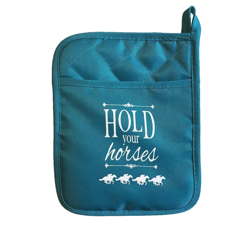 Hold Your Horses 2-Piece Kitchen Set Bundle with Tea Towel /& Teal Pot Holder